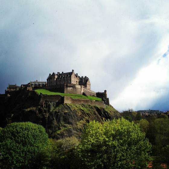 Edinburgh castle stormy day