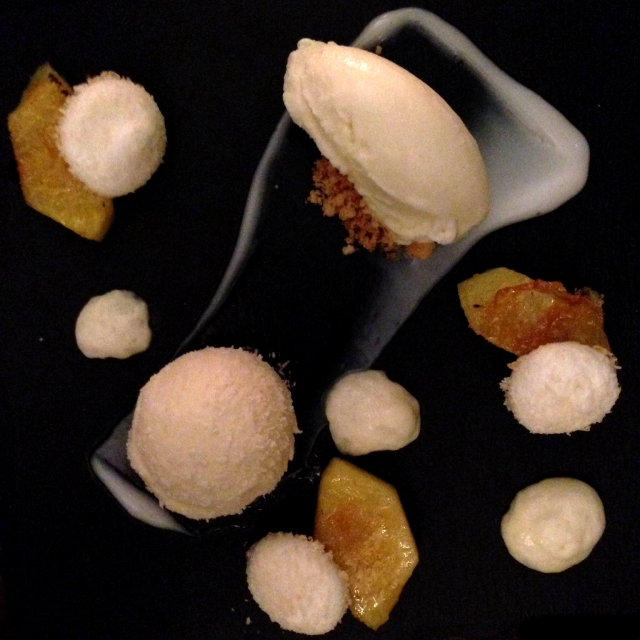 white chocolate mousse, roasted pineapple, mango and coconut ice cream dessert at the Atelier Edinburgh