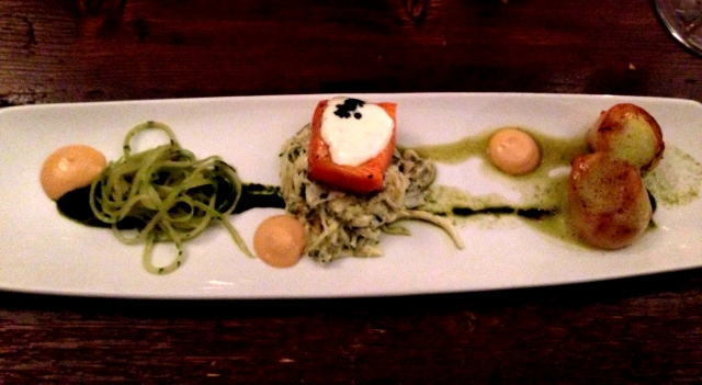 Scallops and trout starter at The Atelier Edinburgh